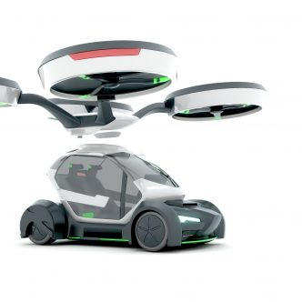 Prototype d'une voiture volante en illustration 3D