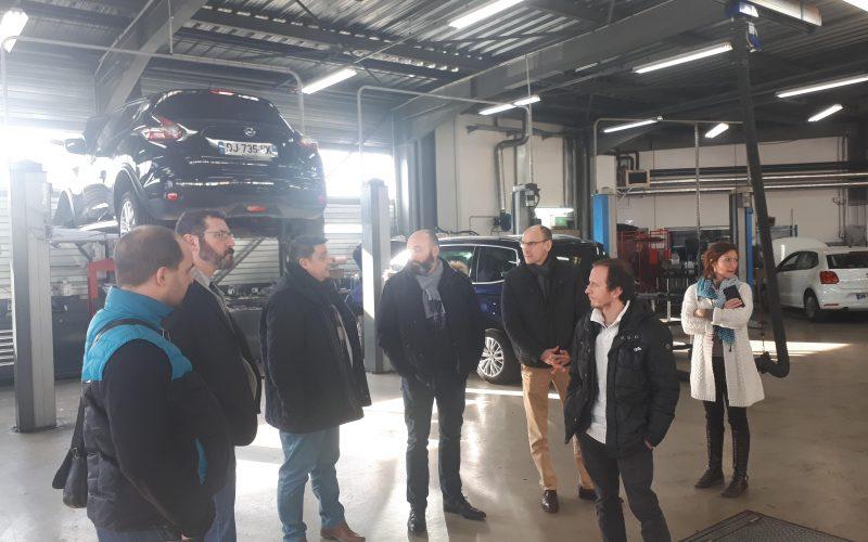 Visite des ateliers avec l'AFPA, l'OPCO Mobilité, Gabriel Exposito Directeur Après-Vente GV Lyon, Bruno Bodereau et Claire Cochet
