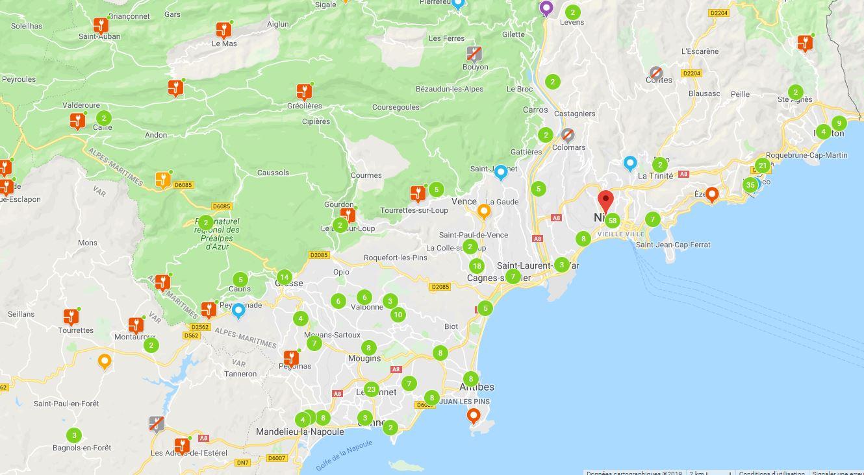 Map situant les bornes de recharge de voitures electrique à proximité de Nice et Cannes